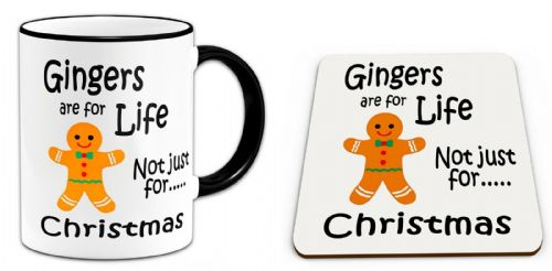 Gingers Are For Life Not Just For Christmas Funny Mug w/ Coaster - Black Handle